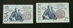 [SJ] USA Sweden Joint Issue 200 Years Of Friendship Peace 1983 (stamp pair) MNH