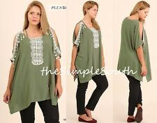 NWT UMGEE Olive Green Crochet Fringe Lace Open Shoulder Neck Boxy Tunic Top XL