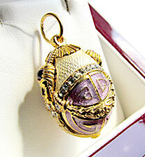 OUTSTANDING SOLID STERLING SILVER 925 & 24K GOLD RUSSIAN ENAMELED EGG PENDANT