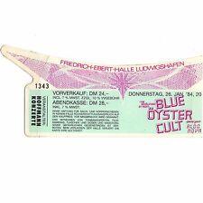 BLUE OYSTER CULT & ALDO NOVA Concert Ticket Stub 1/26/84 LUDWIGSSHAFEN GERMANY
