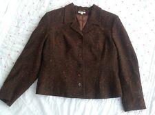 Vintage Nightingales Jacket Blazer Tweed Speckle Brown Wool Mix Size 12
