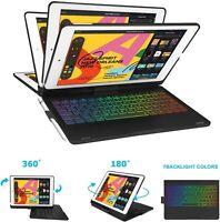 for iPad 7th Gen 10.2 2019/Air3 360 Rotate lWireless Backlit Keyboard Folio Case
