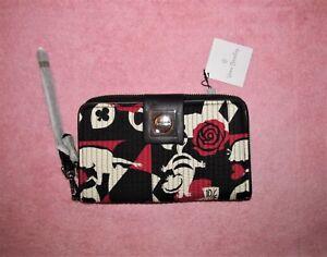 NWT Vera Bradley Disney Alice in Wonderland Turnlock Wallet Wristlet RFID Rose