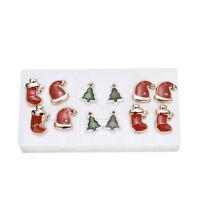 6 Pairs Christmas Women Ear Earrings Lovely  Stud Earrings Jewelry Set Gifts