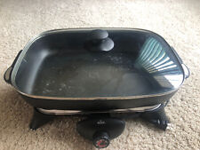 "16"" Rival Retangular Double Handled Footed Electric Skillet w/Handled Glass Lid"