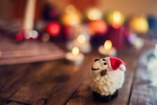 Needle Felted Sheep Santa Red Hat Christmas Decor Natural Toy Tree Figurine