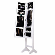 Freestanding White Jewelry Cabinet Armoire Dressing Mirror Storage Chest Box New