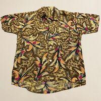 Vintage Aloha Shirt 60s Mens Medium Rayon Loop Collar Floral Pattern 70s Print