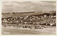 East Sussex Vintage Postcard, Hastings beach & sea front, Bus Depot on Left JU3