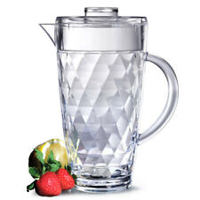 More details for diamond cut acrylic pitcher with lid 2l - set of 6 - bpa-free plastic water jug