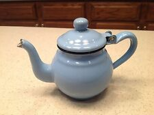 "Vintage Enamelware Blue Tea Pot W/ Hinged Lid Black Trim White Interior 4.25"" T"