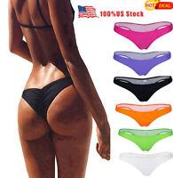 Hot Sexy Women's Ladies V Thong Cheeky Ruched Bikini Bottom Swimwear Beachwear