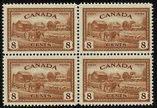 Canada #268, 1946 8¢ Farm Scene BLOCK OF 4, mint NH VF (Uni $18.00)