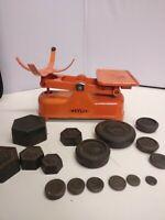 Vintage Mid Century Weylux Rex Kitchen Scales Enamelled Cast Iron Plus Weights
