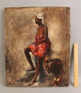 Original Portrait Oil Painting Tropical Islander Beautiful Caribbean Woman Study