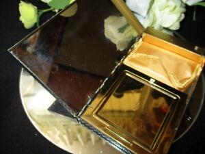 VINTAGE VOLUPTE POWDER COMPACT PURSE WALLET IN ONE BLACK ENAMEL GREEN RHINESTONE