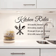 Kitchen Rules Home Quote Wall Stickers Art Dining Room Removable Decal DIY
