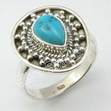 925 Solid Sterling Silver TURQUOISE Finger RING SIZE 8.5 ! Online Jewelry Store