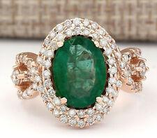 5.25 Carat Natural Emerald 14K Rose Gold Diamond Ring