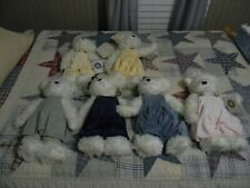 Lot Of 6 Boyds Bears White Bears With Rompers Witebred Beautiful With Hangtags
