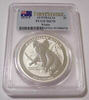 Australia 2018 P 1 oz Silver Dollar Koala MS70 PCGS First Strike
