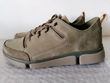 CLARKS TRI VERVE LACE MENS OLIVE LEATHER SUEDE COMBI TRAINERS SHOES UK SIZE 7.5