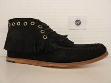 H by Hudson Anneke Black Leather Suede Lace Up Fringe Tassle Ankle Boot Moccasin