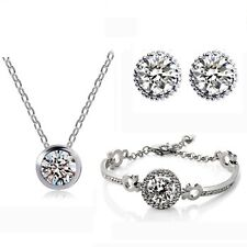 Trio  Cubic Zirconia Crystals  Jewelry Set Earrings, Necklace and Bracelet