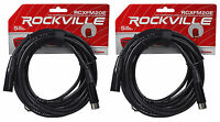 (2) Rockville RCXFM20E-B 20 Ft Female to Male XLR Mic Cables Black 100% Copper