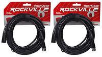 (2) Rockville RCXFM20E-B 20 Ft Female to Male XLR Mic Cables Black 100% Copper