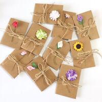 6pcs Kraft Paper Dry Flower Greeting Card with Envelope For Christmas Wedding HF