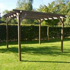 *CLEARANCE* Wooden Pergola - Rustic Brown - 3m x 3m
