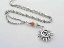 Sun Moon Necklace with Sunstone and Moonstone