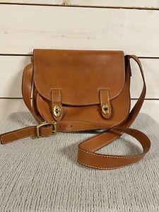 Fossil Austin Leather Turn Lock Saddle Flap Crossbody Messenger Shoulder Bag