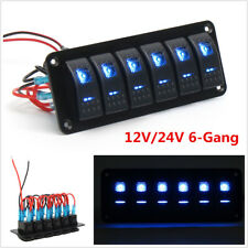 6 Gang Dual LED Light 12V/24V Rocker Switch Panel Circuit Breaker Car SUV Truck