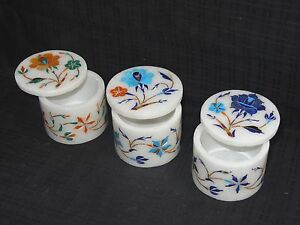 Marble 3 Set of Round Handmade Jewelry Trinket Box Mosaic Marquetry Shopping Art