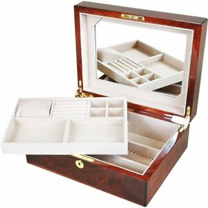 Large Makah Burl Wood Jewellery Box with Tray by Hillwood