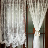 White Lace Embroidered Tie-Up Balloon Shade Curtain Sheer Voile Valance 1 Panel