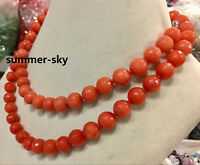 Natural 10MM Faceted Orange Jade Round Gemstone Jewelry Necklace 36""
