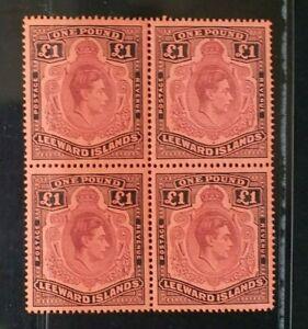 LEEWARD ISLANDS 1945 KG VI £1 SG 114b Sc 115c P14 MNH block 4
