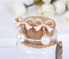 Lovely pink long bow Pearl Earrings female A022