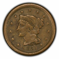 1851 1c Braided Hair Large Cent - Brothel Token - SKU-Y2800
