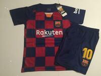 Barcelona Home 2019/20 Messi Kids Youth Soccer Jersey Shirt Set Kit Small 8-9 yr