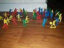 21 Indians 24 cowboys + dog Vintage  Miniature Plastic Figures Toys