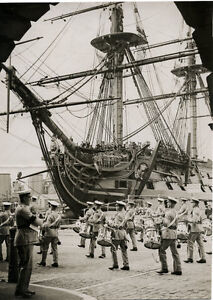 1930's PRESS PHOTOGRAPH - REHEARSAL FOR PORTSMOUTH NAVY WEEK HMS VICTORY