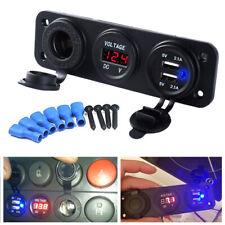 12V Doble USB Cargador Enchufe de alimentación de mechero de coche Adaptador LED voltímetro