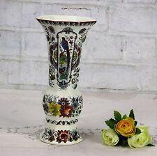 Maastricht Holland Rare Delft Polychrome Porcelain Vase Floral design Birds