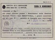 § TESSERA RICONOSCIMENTO MINIST. COMUNICAZIONI - Speciale Viveri La Provvida '41