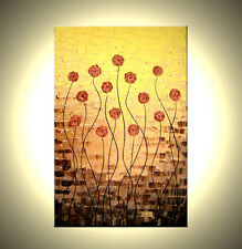 Original Abstract Red Roses Flowers Art Metallic Gold Poppies Textured Painting