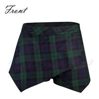 Ladies/Womens Tartan Asymmetric Hem Skirt/Shorts/Skorts Irregular Flanging Wrap